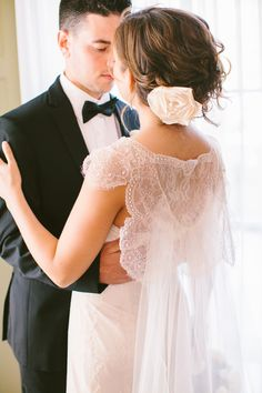 Detatchable #Watteau Train | Photography: RebeccaArthurs.com | More on Style Me Pretty  http://www.stylemepretty.com/2013/11/06/bristol-rhode-island-wedding-from-rebecca-arthurs/