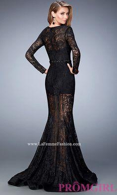 Long La Femme Sheer Lace Black Long Sleeve Prom Dress