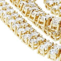 New Mens Yellow Gold Finish Diamond 2 Row White Necklace Chain 30 Inch