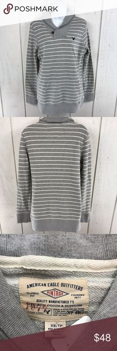 41db10d7882e4e American Eagle Outfitters sweater size XS NWT AEO women's grey striped  shawl neck sweater size XS