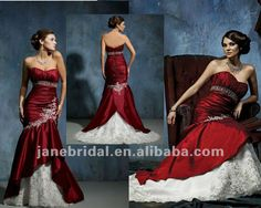 applique red and white wedding dresses