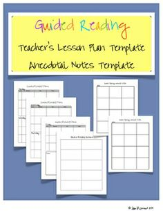 Guided Reading Plans and Anecdotal Notes templates for teachers. $