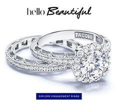 This Tacori wedding set and all of Tacori engagement rings, wedding bands for both him and her plus Tacori fashion jewelry can be found at www.arthursjewelers.com with free shipping.  Pinned by Marilyn Nogai