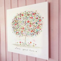 Love grows here illustration canvas print<br /><br />A canvas print from an original pen