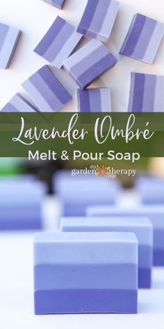 Lovely Lavender Ombre Melt and Pour Soap - Garden TherapyYou can find Lavender soap and more on our website.Lovely Lavender Ombre Melt and Pour Soap - Garden Therapy Handmade Soap Recipes, Soap Making Recipes, Handmade Soaps, Diy Soaps, Diy Savon, Soap Cutter, Soap Melt And Pour, Glycerin Soap, Castile Soap