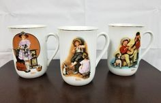 Norman Rockwell Mugs 1981 Museum Souvenir Set of 3 Vacation Music Sour Note