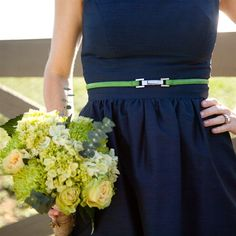Belted Navy Blue Bridesmaid Dress - What about something like this, but with hott pink/fuchsia or orange belts?