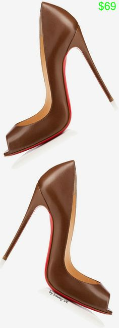 Christian Louboutin | @ christian louboutin...Brown Peep-Toe Pumps