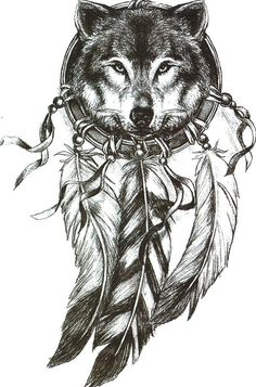 Wolf Dream Catcher Temporary  Tattoo