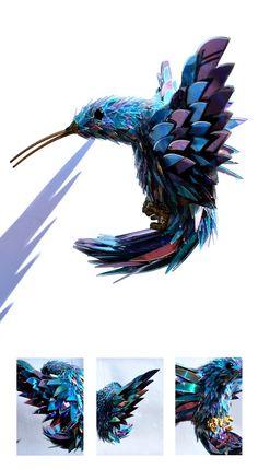 Broken CDs transformed into Iridescent Animal Sculptures