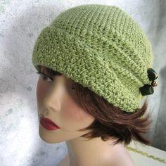 free crochet patterns to print   Crochet Pattern Womens FLAPPER HAT Cloche With Side Pinch Pleats PDF ...CUTE!