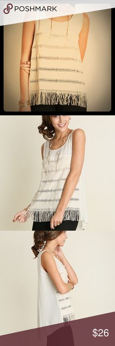 Fringed Tank Sleeveless Sheer tank with fringed hem. Trendy & comfy.   [Trindy Clozet Boutique Policies]  ✅ Next Business Day Shipping (possibly same day) ✅ Retail prices are firm unless bundled.  ✅ No trades.  Find more styles on our website@  Spreesy.com/trindyclozet  Insta trindy_clozet FB TrindyClozet Twitter trindyclozet Tops Tank Tops