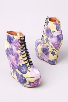 Jeffrey Campbell Damsel in Yellow Purple Floral at AKIRA | Jeffrey Campbell Damsel