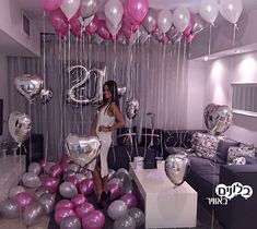 47 Ideas Birthday Surprise For Her Party Themes 18th Birthday Party Themes, Birthday Themes For Adults, 21st Bday Ideas, Birthday Balloon Decorations, Adult Birthday Party, Birthday Balloons, 30th Party, Birthday Cakes, 25th Birthday Ideas For Her