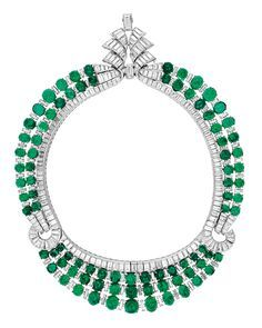 Necklace, Paris, France, ca 1938, emeralds, diamonds, platinum, Courtesy of a Private Collection. This necklace can be worn either way up.