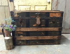 Antique Steamer Trunk Wood and Steel Trunk