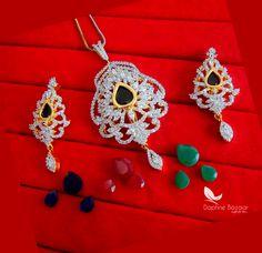 08757cce2 CE40, Daphne Blossom Color Changeable Pendant Earrings for Women -view4  Pendant Earrings, Women's