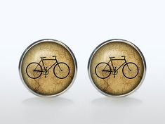 Vintage bicycle Cufflinks Silver plated Antique bike Cuff links men and women hipster Accessories brown black
