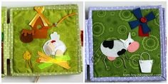 love the cow and chick's legs!  quiet busy book for Stella and Sadie, развивающая книжка