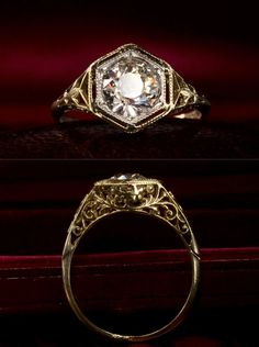 0.94ct Old European Cut Diamond (H/VS2) Engagement Ring, 14K Yellow Gold Filigree, Platinum Top for Stark