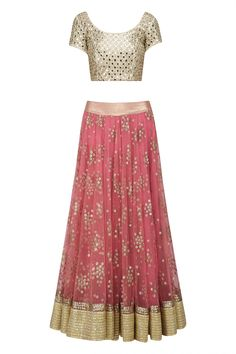 Off white mirror work blouse and blush lehenga skirt set available only at Pernia's Pop Up Shop.