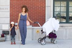 Scout the City. Mama + Daughter duo. London Scout and Sai. Rockin' that Little Dream Bird White Diamonds stroller cover.