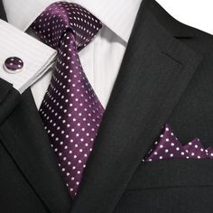 "3PC Silk Necktie Set Color: Purple and White 59"" Length, 3.25"" Width"
