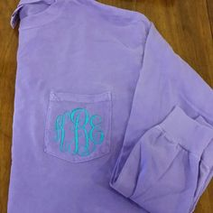 Monogrammed Long Sleeve Comfort Colors Pocket Tee by The Initialed Life