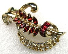 Vintage Early Coro Signed Ruby Red Rhinestone Pin Brooch   eBay