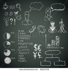 Business doodles on a blackboard. Vector illustration. by Laralova, via ShutterStock