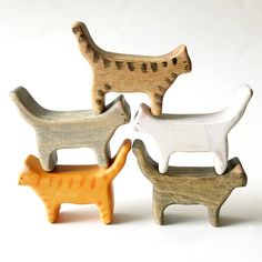 wooden cat figurine cat wooden toy wood toys cats wood - Tap the link now to see all of our cool cat collections!