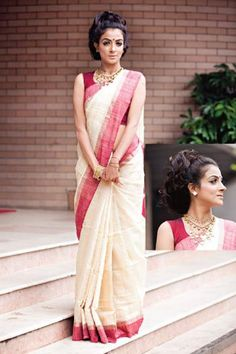 Durga Puja - Cream and red cotton sari #Bangladesh #rang
