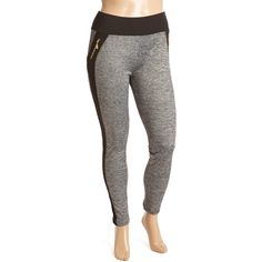Crush Heather Gray Contrast-Stripe Zip-Pocket Sport Leggings ($13) ❤ liked on Polyvore featuring plus size women's fashion, plus size clothing, plus size pants, plus size leggings, plus size, zipper leggings, womens plus pants, plus size womens leggings, legging pants and zip pants