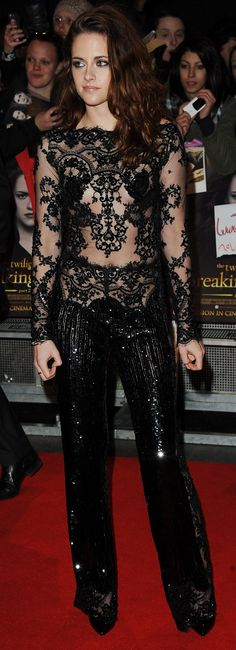 The real deal on Kristen Stewart's red carpet outlook (from the man who designed this gorgeous lace jumpsuit!)