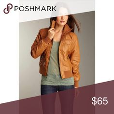 🆕 Espirit Faux Leather Jacket Espirit Faux leather jacket with knit trim and zip front. In excellent condition as it was only worn a couple of times. Color is cognac. Esprit Jackets & Coats