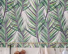 Dschungel verlässt, Wallpaper, abnehmbare Wallpaper, selbstklebende Tapete, Wanddekoration Dschungel, Dschungel Wallcovering - JW021