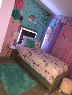 Teen Girl Bedrooms, simply fun to down-to-earth bedroom ideas, number 8390987960 Girls Room Design, Teen Bedroom Designs, Room Ideas Bedroom, Girls Bedroom Colors, Unicorn Bedroom Decor, Cool Kids Bedrooms, Twin Girl Bedrooms, Inspire Me Home Decor, Daughters Room