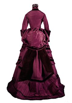 Day Dress 1870-1875 Plain weave; Pile; Crochet; Wrapped; Appliqué; Twill weave; Rib weave, Henry Art Gallery