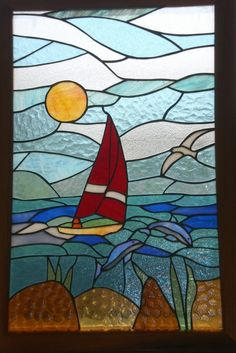 Sailing Away - stained glass wall hanging