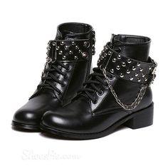 cool Shoespie Rivet Flat Ankle Boots