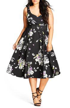 Main Image City Chic Tapestry Print Fit & Flare Dress Plus Size