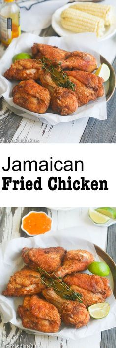 Jamaican Fried Chicken Golden brown crispy crunchy Chicken Highly spiced decadently tender Bad to the bone and Finger lickin good Comfort food at its BES Jamaican Cuisine, Jamaican Dishes, Jamaican Recipes, Jerk Chicken, Jamaican Fried Chicken Recipe, Chicken Wings, Marinade Chicken, Carribean Food, Caribbean Recipes