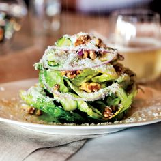 Little Gem Salad with Lemon Vinaigrette - Nancy Silverton's lovely salad features Little Gem lettuce, a smaller, sweeter variety of romaine, along with yellow squash, toasted walnuts and pecorino. Wine Recipes, Cooking Recipes, Healthy Recipes, Little Gem Lettuce, Lemon Vinaigrette, Classic Caesar Salad, Green Salad Recipes, Soup And Salad, Gourmet
