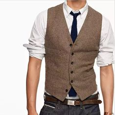 2017 Vintage Brown tweed Vests Wool Herringbone British style custom made Mens suit tailor slim fit Blazer wedding suits for men