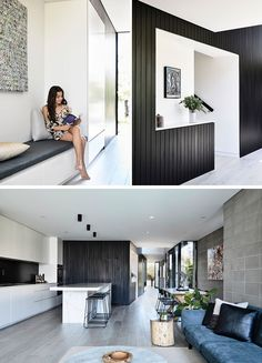 This modern house has the entryway defined by black stained time cladding, that wraps around a built-in bench and the stairs, and then travels through to the kitchen. Interior Design Images, Luxury Interior Design, Contemporary Interior Design, Contemporary Bedroom, Rustic Contemporary, Contemporary Building, Contemporary Apartment, Contemporary Office, Contemporary Chandelier