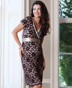 Grace Lace Maternity Dress (Chocolate)