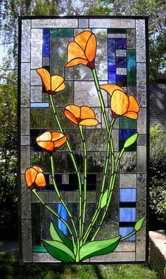 Stained Glass window Panel- California Poppies Blooming