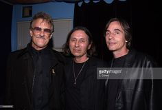 Kris Kristofferson and Jackson Browne join John Trudell backstage after his concert to celebrate the release of his album'Bone Days'.Angelina exec-produced the album.