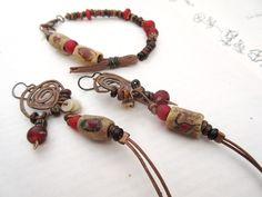 """""""Senteurs d'Automne"""" : une parure bracelet et boucles d'oreille à l'allure primitive, sauvage et racée !!!! ... : Parure par les-reves-de-minsy"""