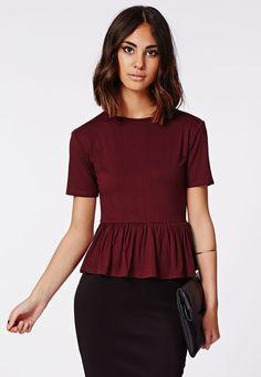 Mahala Peplum T Shirt Burgundy - Tops - T Shirts - Missguided